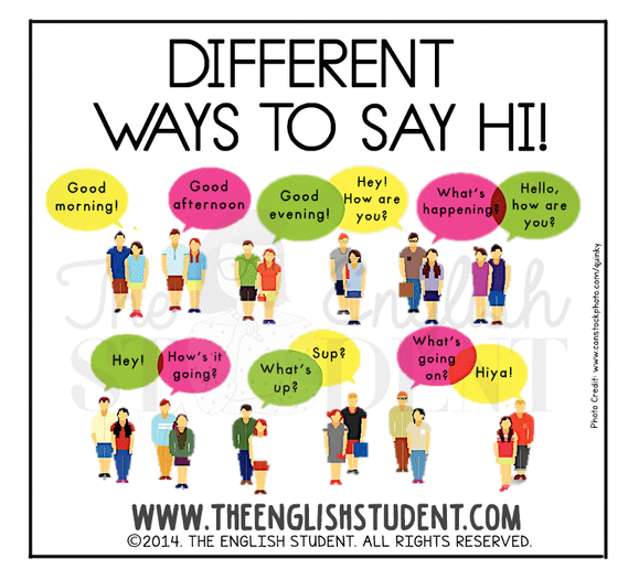 www.theenglishstudent.com, The English Student, saying hi, ESL conversation, formal greetings in English, learn English, ESL slang, teaching manners, teaching greetings, ESL teaching resources, ELL, ELT