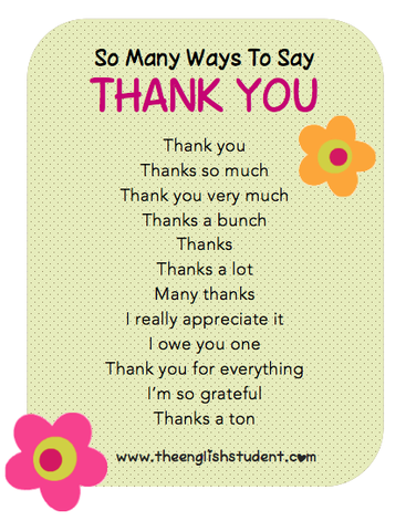 The English Student, theenglishstudent.com, theenglishstudent, English Student, ways to say thank you, different ways to say thank you, ESL manners, ESL thank you, teaching manners, gratitude, showing appreciation