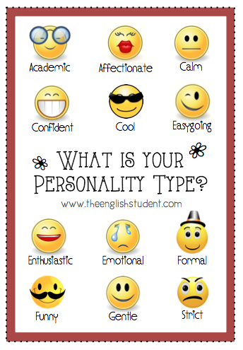 The English Student, English Student, English Student blog, ESL blog, ESL sites, ESL fun,Personality types, what is your personality, personality adjectives, adjectives, describe person, ESL adjectives