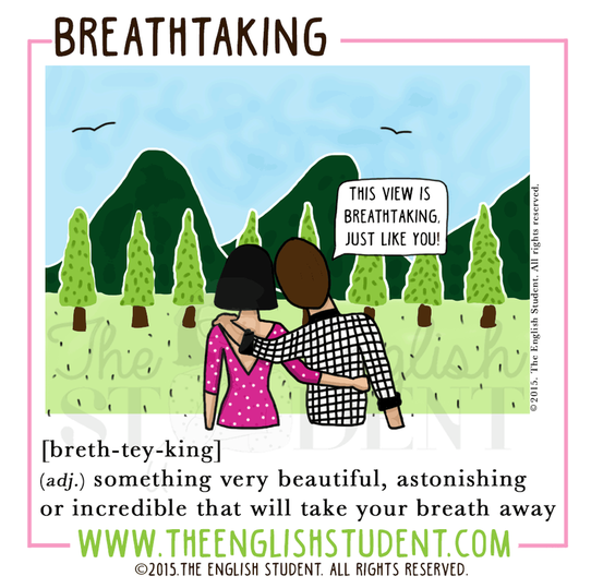 The English Student, www.theenglishstudent.com, the english students, ESl blog, best educational blog, breath vs breathe, difference between breathe and breath, ESl teaching ideas, ESl teaching resources, what does breathtaking mean, idiom take my breath away