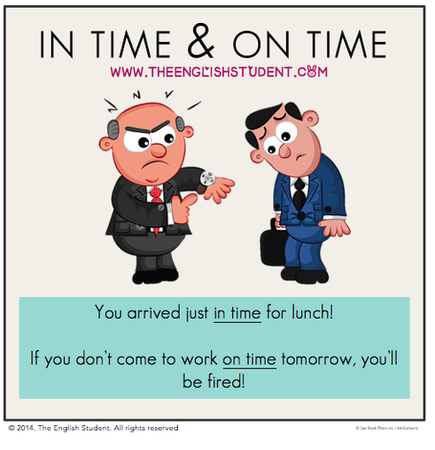 The English Student, www.theenglishstudent.com, English Student, ESL blog, ESL websites, difference between in time and on time, ESL prepositions, in time vs on time, ESl tenses, theenglishstudent, fun ESL blog, angry boss